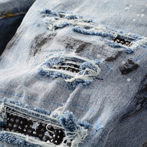 Crystal Ink Splatter Stretch Jeans