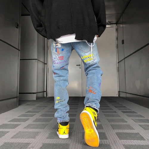 Graffiti Painted Slim Jeans