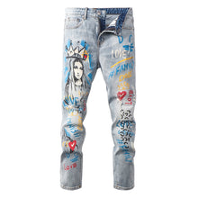 Virgin Mary Custom Painted Slim Jeans
