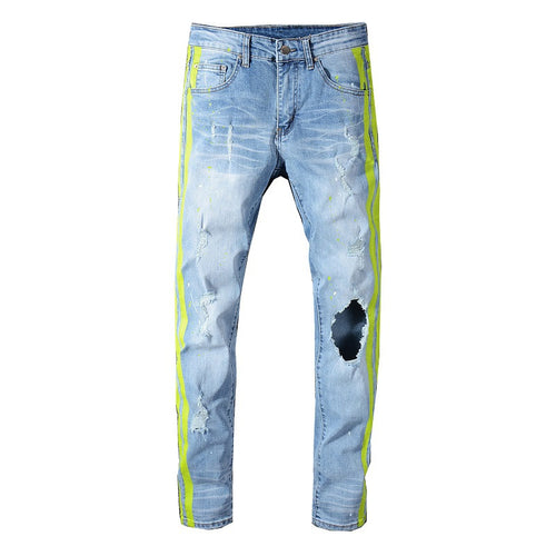 Neon Yellow Stripe Slim Fit Jeans