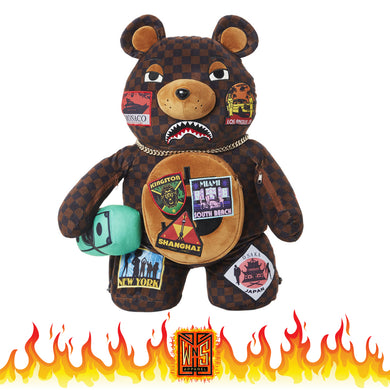 Sprayground Checkered Paris Travel Patch Bear Backpack (Teddy Bear)