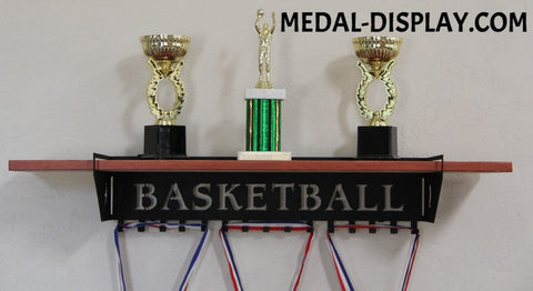 Basketball Trophy Shelf and  Personalized Medals Display:  Medals Holder and Medals Hanger