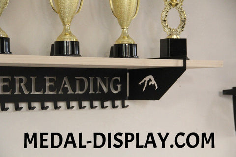 Cheer Trophy Shelf and  Personalized Medals Display:  Medals Holder and Medals Hanger