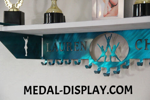 Competition Cheer Trophy Shelf and Cheer Medals Display: Cheerleading Medals Hanger