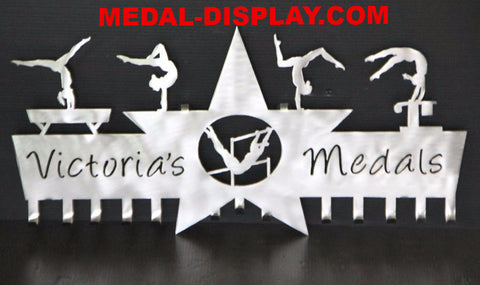 Gymnastics Medal Holder : 5 Star Design, Brilliant Gymnast Awards Display | medal-display.com
