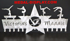A premium Gymnastics Medal holder, that shows off a Gymnasts medals, ribbons and awards