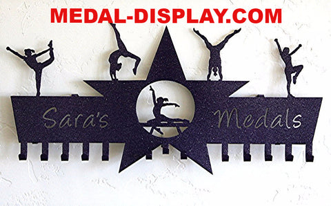 Gymnastics Medal Holder & Cheer Medal Display Personalized | customcut4you.com