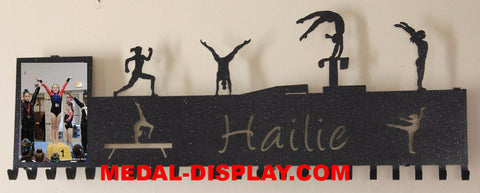 Gymnastics Medal Wall Display & Picture Holder: Gymnastics Ribbons Holder: Personalized Medals Holder