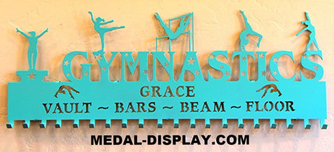 A Trendy Gymnastics Medal Holder personalized with a name