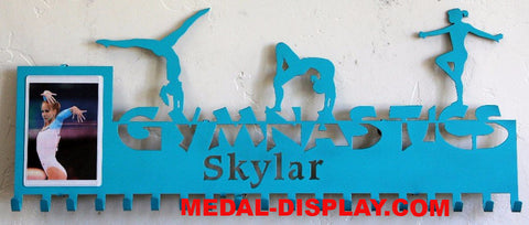 Gymnastics Medal Display and Photo Holder : Personalized Gymnastics Medals Holder: Gymnastics Medals Hanger