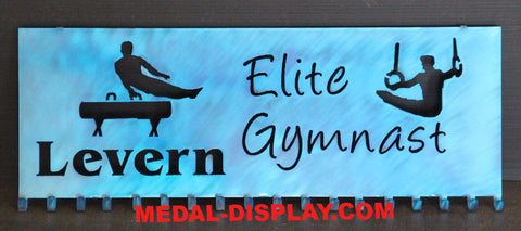 Male Gymnastics Medal Display: Personalized Ribbon Display: Gymnastics Medal Holder