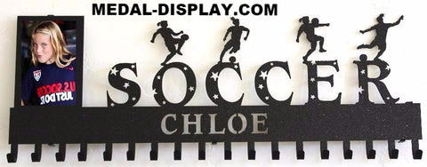 Soccer Medals Display:Personalized  Soccer Medal Holder: Custom Soccer Medals Hanger