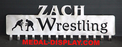 Wrestling  Medal Hanger and Display Rack: Personalized Medal and Ribbons Display