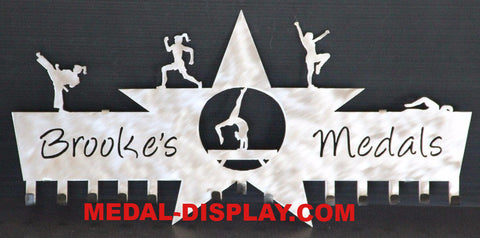 Multi Sport Medal Display: Awards Ribbons Holder: Personalized Medals Holder