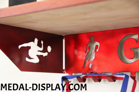 Soccer Trophy Shelf and  Personalized Medals Display:  Medals Holder and Medals Hanger