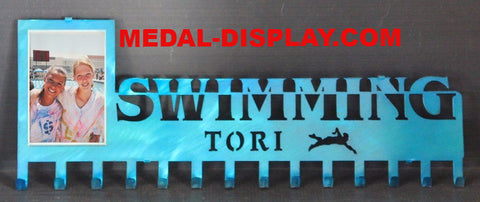 Swimming Medal Display & Picture Holder: Swimming Ribbons Holder: Personalized Medals Holder