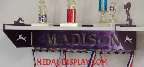 Swimming Trophy Shelf and  Personalized Medals Display:  Medals Holder and Medals Hanger