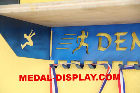 Track and Field Trophy Shelf and  Personalized Medals Display:  Medals Holder and Medals Hanger