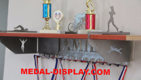 Triatholon Trophy Shelf and  Personalized Medals Display:  Medals Holder and Medals Hanger
