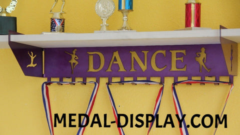 Dance Trophy Shelf and  Personalized Medals Display:  Medals Holder and Medals Hanger
