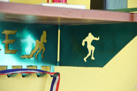 Copy of Football Trophy Shelf and  Personalized Medals Display:  Medals Holder and Medals Hanger