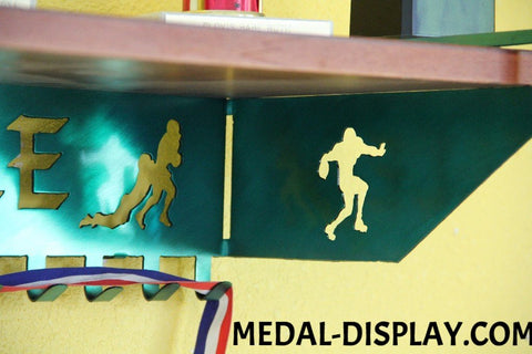 Football Trophy Shelf and  Personalized Medals Display:  Medals Holder and Medals Hanger