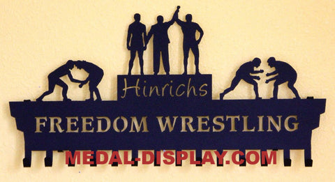 Wrestling Medal Display: Personalized Medals Display:  Medals Holder