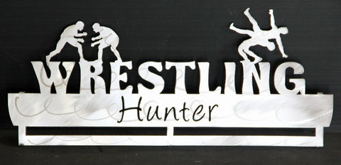 Wrestling Medal Display Rack: Personalized Medal and Ribbons Display
