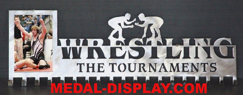 Wrestling Medal Holder and Picture Holder: Personalized Medal Display: Wrestling Medals Holder