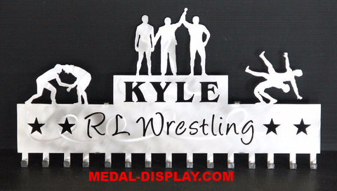 Wrestling Medal Display Rack:  Wrestling  Medal  Holder:  Personalized  Medals Holder