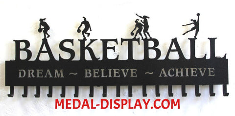 Basketball Medal Display:  Personalized Basketball Medals Holder: Medals  Hanger