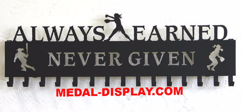 Softball Medal Holder: Always Earned Never Given: Fastpitch Medals Display