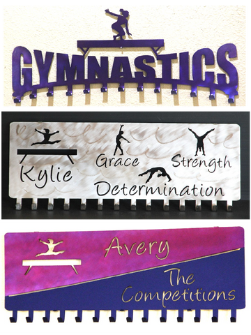 Gymnastics Medal Holder: Personalized Medals Hangers: Gymnastics Medal and Ribbons Display