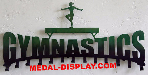 Gymnast Medal Display:  Perzonalized Gymnastics Ribbons Hanger: Personalized Medals Holder