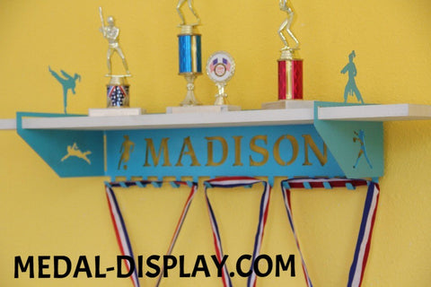 Multi Sport Trophy Shelf and  Personalized Medals Display:  Medals Holder and Medals Hanger
