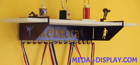 Multi Sport  Female Trophy Shelf and  Personalized Medals Display:  Medals Holder and Medals Hanger