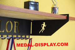 Track Trophy Shelf and  Personalized Medals Display:  Medals Holder and Medals Hanger