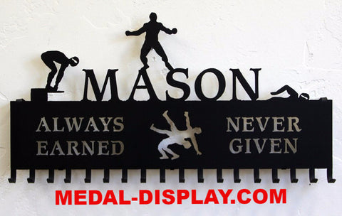 Wrestling-Medal-Holder-Swimming-Medal-Display