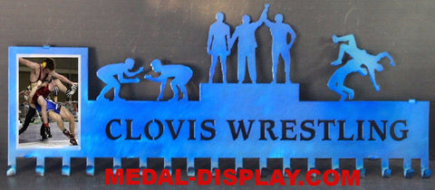 Wrestling Medals Display and Picture Holder: Personalized Medal Display: Wrestling Medals Holder