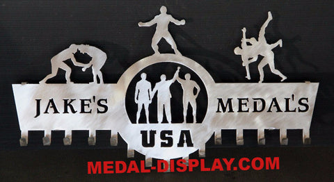 Wrestling Medals Display: Personalized Medal Display: Wrestling Medals Holder