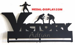 Wrestling  Medals Holder and Display Rack: Personalized Medal and Ribbons Display