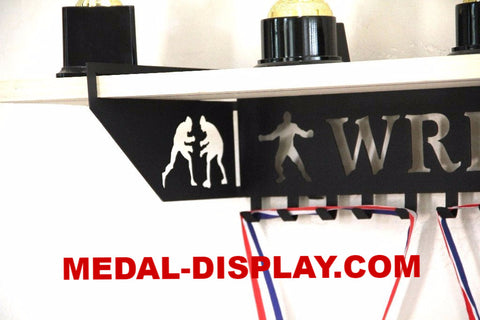 Wrestling Trophy Shelf and  Personalized Medals Display:  Medals Holder and Medals Hanger