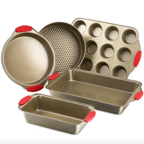 5-Piece Nonstick Baking Pans Set With Silocone Grips (BPA FREE)