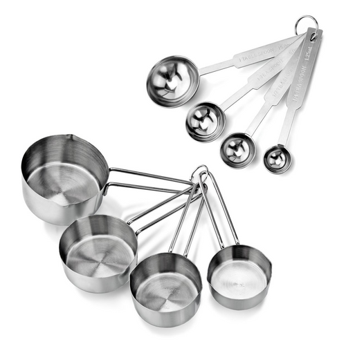 Stainless Steel 4-Piece Measuring Cups & Spoons - englandpoppyseeds
