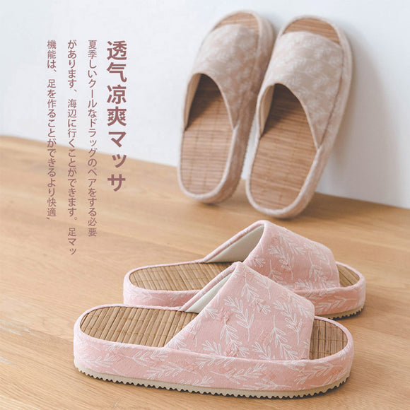 Natural Bamboo Platform Slippers - Mumeii Mimimalism Shop