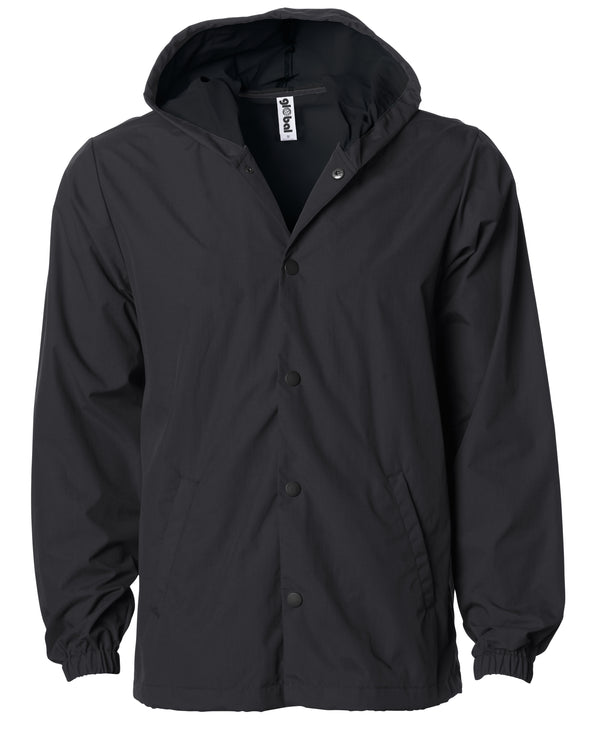 Front of a black nylon coach's jacket with black buttons and a hood.