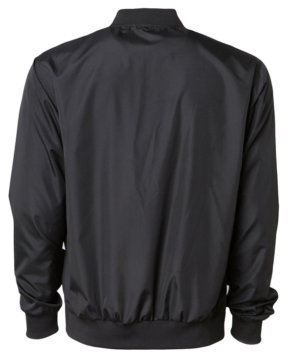 Back of a black zip-up bomber jacket with front pockets and elastic cuffs.