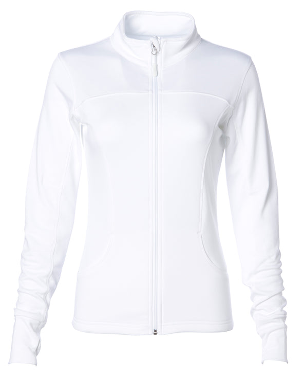 Front of white zip-up yoga jacket with front pockets and thumb holes.