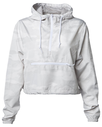 Front of a white camouflage crop top windbreaker hoodie with a front zipper pouch. The windbreaker has white zippers and drawstrings.