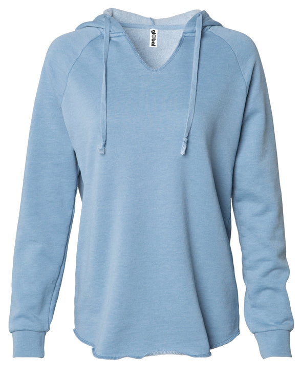 Front of a long sleeve pastel blue pullover hoodie.